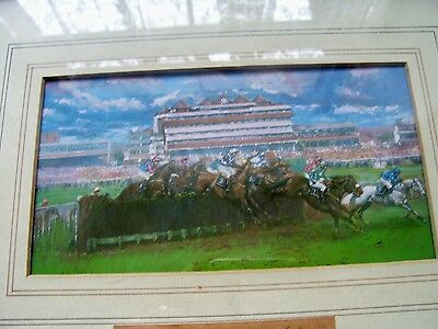 Horse Racing Print Hennessy Gold Cup By Clair Burton