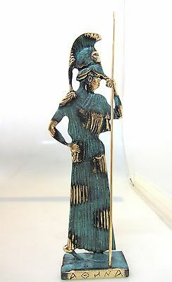 Ancient Greek Bronze Museum Statue Replica Athena Wth Helmet & Spear Collectable