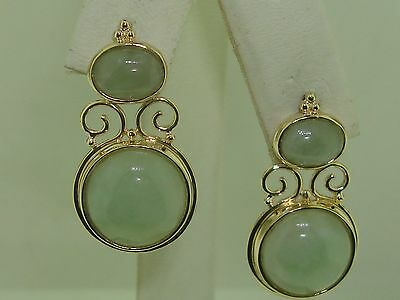 Beautiful Vintage Sanuk 14K Solid Gold Genuine Jadeite Classic Earrings!