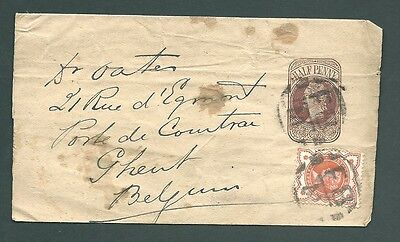Victorian Uprated Newspaper Wrapper to Belgium - Foreign Branch handstamps