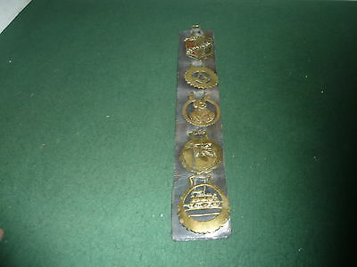 5 Antique Horse Brasses on Genuine Leather Martingale 1919 Victory Peace WWI