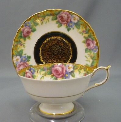 Wide Fancy Paragon England TAPESTRY ROSE Gold Bone China Cup & Saucer Duo Black