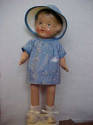 "13"" Lil Sis Toy Product Composition Doll w/Painted Face - Nicely Redressed!"