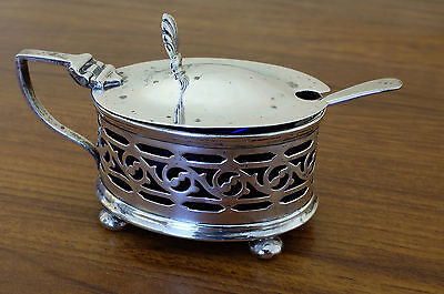 Solid Silver Mustard Pot With Glass Liner & Spoon 1924/25