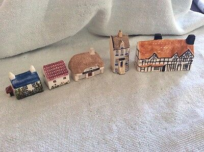 5 Miniature Ceramic & Pottery Houses Incl. Lulworth Pirates