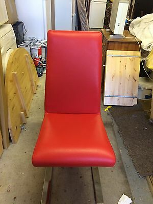 Two Red Faux Leather Dinning Chairs with Chrome Legs x2