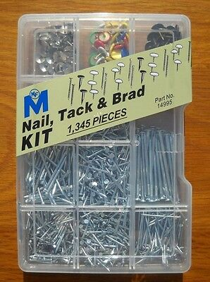 Nail, Tack & Brad Assortment Kit with 1,345 Pieces by Midwest Fastener (14995)