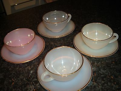Arcopal French Opalescent Harlequin Glass Coffee Set Pastel Colours Gold Trim
