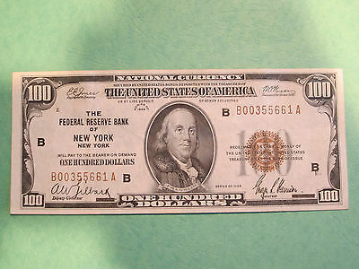 Series 1929 $100. Dollar National Currency Banknote Very Fine Bank of New York