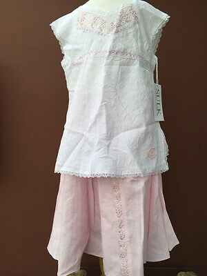 BNWT Girls Stunning Pink And White Outfit By Designer SULK (10 Yr) *FREE UK P&P*