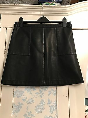 Black A Line Faux Leather Skirt Size 14