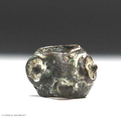 32) Ancient Pre Columbian Copper Metal Face Eye Bead Artifact