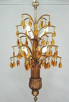 Antique Vintage  Chandelier   Fixture Amber  or Clear crystals  your choice