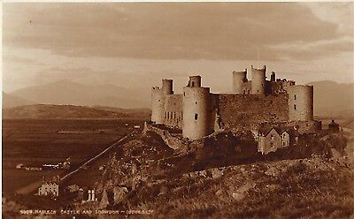 Postcard Harlech Castle and Snowdon