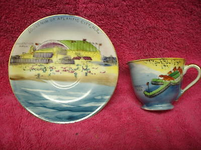 Vintage Atlantic City Convention Hall Steel Pier Hand painted Japan Cup Saucer