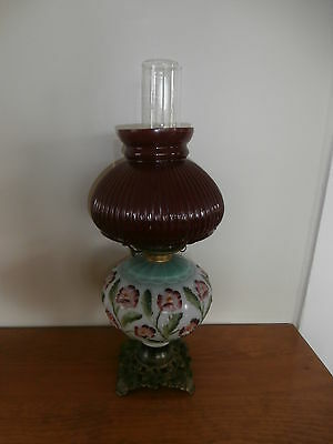 Antique Oil Lamp Victorian Parlor P & A Waterbury USA Glass & Brass