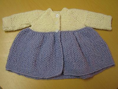 New Hand-Knitted Woolen Lilac & Cream Baby Girl/Baby Girl's Jacket/Coat