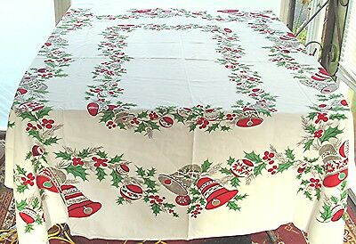 Vtg Christmas Holiday Cotton Print Tablecloth Bells Xmas Ornaments Holly Berries