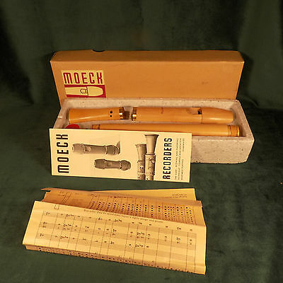 Vintage Moeck Recorder Wood 1950's Model 4013 With Instruction's Music