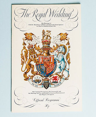 Royal Wedding Programme Diana Charles 1981