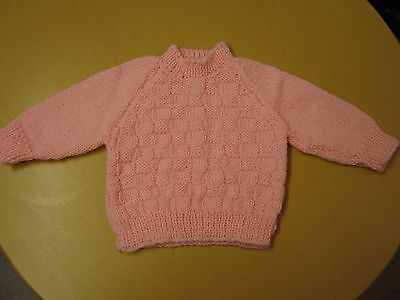 New Hand-Knitted Woolen Bright Pink Baby Girl's Jumper