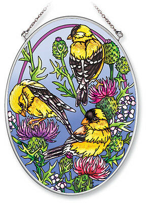 Goldfinch Flowering Cactus Sun Catcher Hand Painted Glass AMIA 7x5 Oval New