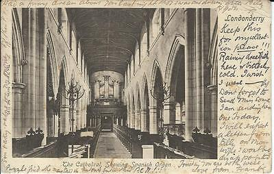 Londonderry Cathedral Spanish Organ early postcard posted 1903
