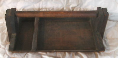 Early Antique Primitive Wood Utensil Tray Tote Carrier Box Caddy Amish