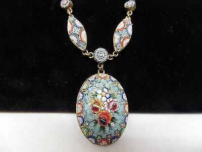 Italy Signed Vintage Micro Mosaic Necklace! Lovely!