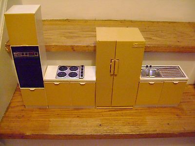 Vintage Marx Sindy Doll Wall Oven Refrigerator Stove and Sink Set
