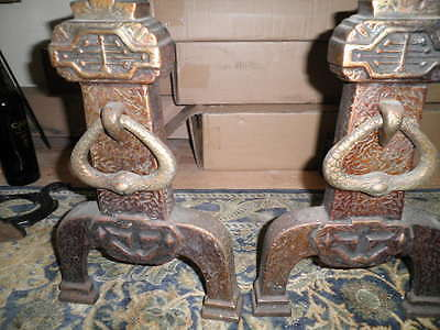 Sheffield 618 Arts Crafts Fireplace Andirons Cast Iron Hammered Gothic Mission