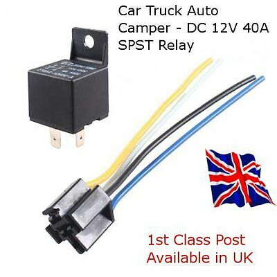 Car Truck Auto camper DC 12V 40A SPST Relay 4 Pin Including Wired Socket