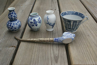 Mixed Lot of Blue & White Pottery/ China Oriental Asian Delft Vases Cup & Pipe