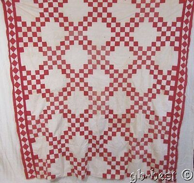 DIAMOND BORDER c 1880s Double Pink Irish Chain Antique QUILT Top 88 x 85""