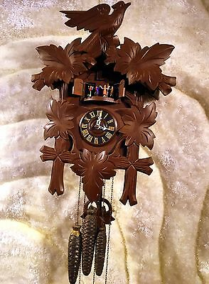 Large Vtg Antique Germany Carved Wall Wooden Cuckoo Chime Strike Clock Working