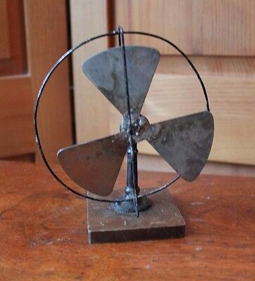 Vintage Folk Art Tin Metal Wood Kids Mini Fan Miniature Soldered Germany