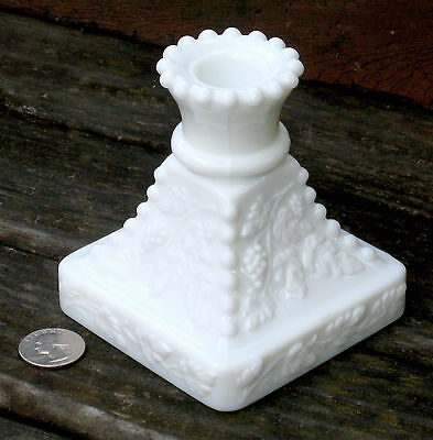 WESTMORELAND BEADED GRAPE white milk glass CANDLESTICK square base