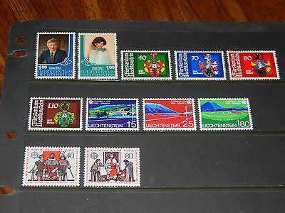 Liechtenstein stamps - 11 mint never hinged stamps - 1982 - complete sets !!