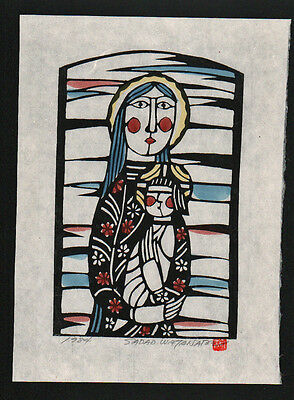 SADAO WATANABE Japanese Stencil Print MOTHER AND CHILD