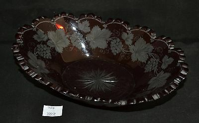 ThriftCHI ~ Antique Cranberry Flashing Oval Dish w Etched Grape Leaf Design