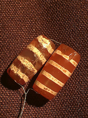 2000yrs+ ancient Carnelian etched four strings beads  2 pieces #91613