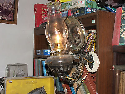 Antique Kerosene Wall Lamp / Sconce, Wrought Iron Holder, Converted; FAST SHIP