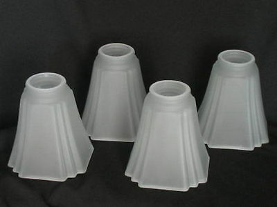 Art Deco Satin Glass Light Shade Pyramid 2 1/4 Ceiling Fan Chandelier Wall Sconc