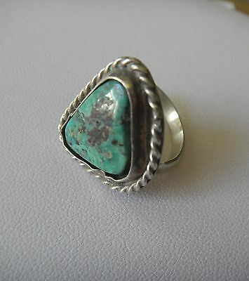 Vintage Sterling Silver Triangle Turquoise Stone Ring Size Size 8
