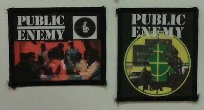 2 NEW HTF 1990s RARE VINTAGE OOP PUBLIC ENEMY Sew On Patches FLAVOR FLAV CHUCK D
