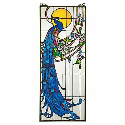 Design Toscano Peacock Sunset Stained Glass Window, Full Color