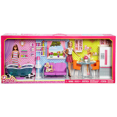Barbie Doll and Deluxe Furniture Playset -comes with furniture for three rooms