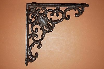 "(14)Pcs, Powder Coat Rustic Brown Vintage-Look Shelf Brackets,cast Iron,8"", B-29"