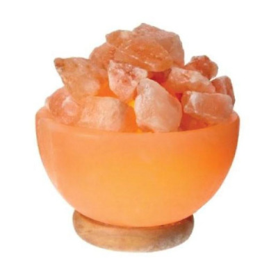 Himalayan Pink Salt Lamp Fire Bowl Shape Carved Crystal Rock