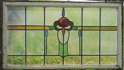 "Large 42"" by 23.5"" Antique Stained Glass Window with Rose Design"